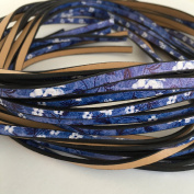Blue Flower Printed Genuine Leather Flat Cord 5mm x 3mm 1 yard strand