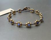 Handmade Sodalite Brass Flower Anklet