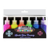 2 Pk, Bazic 20 Ml Neon Colour Glitter Glue, 6 Per Pack (Total of 12) Pink, Green, Blue, Yellow, Purple, and Orange