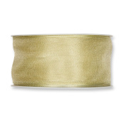 FloristryWarehouse Pale Green Organza ribbon 3.8cm wide wired fabric x 27 yards roll. Made in Germany
