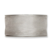 FloristryWarehouse Silver Grey Organza ribbon 3.8cm wide wired fabric x 27 yards roll. Made in Germany