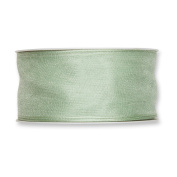 FloristryWarehouse Pale Mint Organza ribbon 3.8cm wide wired fabric x 27 yards roll. Made in Germany