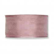 FloristryWarehouse Soft Antique Rose Organza ribbon 3.8cm wide wired fabric x 27 yards roll. Made in Germany