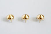 Trimming Shop High Cone Spike Studs Rivets - Embellishment For Bag, Belt, Leather Crafts, Clothes Gold 8Mm
