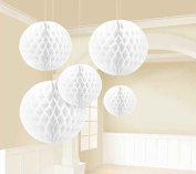 Sorive® Pack of 5pcs Mixed Size White Tissue Paper Honeycomb/Paper tissue pom-pom ball Assortment, Hanging Honeycomb Tissue Lime Value Pack Party Accessory,Special gift for Christmas day
