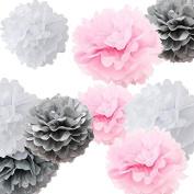 Sorive® 9pcs Mixed Sizes 20cm 25cm 36cm Tissue Paper Pom Poms Flower Wedding Party Baby Girl Room Nursery Decoration SRI1879