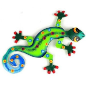 Caribbean Craft Eight Inch Metal Gecko Jungle Design