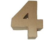 Craft Ped Paper Mache 10cm Number 4 Kraft