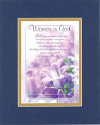 GoodOldSaying - Poem for Inspirations - Women of God . . . on 8x10 Biblical Verse set in Double Mat (Blue On Gold) - A Priceless Poetry Keepsake Collection