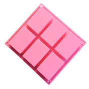 Always Your Chef 6-Cavity Silicone Rectangle Soap Moulds, Square Premium Silicone Mould for Cupcake, Bread, Loaf, Muffin, Brownie, Cornbread, Cheesecake, Pudding, and More, Random Colours