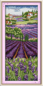 YEESAM ART® New Cross Stitch Kits Advanced Patterns for Beginners Kids Adults - Lavender Champaign 11 CT Stamped 27×57 cm - DIY Needlework Wedding Christmas Gifts