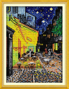 YEESAM ART® New Cross Stitch Kits Advanced Patterns for Beginners Kids Adults - Van Gogh Coffee Shop 11 CT Stamped 24×35 cm - DIY Needlework Wedding Christmas Gifts