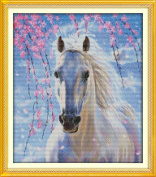 YEESAM ART® New Cross Stitch Kits Advanced Patterns for Beginners Kids Adults - White Horse 11 CT Stamped 46×53 cm - DIY Needlework Wedding Christmas Gifts