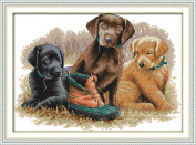 YEESAM ART® New Cross Stitch Kits Advanced Patterns for Beginners Kids Adults - Three Dogs 11 CT Stamped 54×40 cm - DIY Needlework Wedding Christmas Gifts