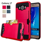 Galaxy J7 Case, GreenElec [Credit Card Slots] [Slim Fit] [Shock Absorption] [Impact Resistant] Hybrid Dual Layer Armour Full Body Protective Case Cover for Samsung Galaxy J7 2016