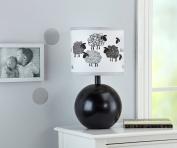 NoJo Good Night Sheep Lamp & Shade, Black & White