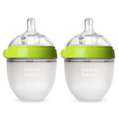 Comotomo Baby Bottle, Green, 150ml, 2 Count