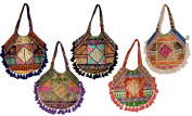 10 Cotton Ethnic Sequin Work Patchwork Embroidered Hippie Tote Wholesale Lot Bags