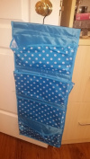 Decor Hut Blue Pola dots hanging organiser, great near changing table or crib, baby clothes or nappies will fit perfectly into this. double sided with large and small pockets, great for accesories, shoes, underwear or jewelery