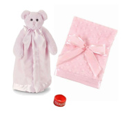 Bearington Baby Bear Hugs Snuggler and Small Dottie Snuggle Blanket Baby Shower Gift Set with Dimple Ring