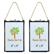 Nicola Spring Hanging Glass Vintage Photo Frame With Rope - 4x6 Photos - Pack Of 2