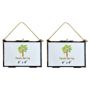 Nicola Spring Hanging Glass Vintage Photo Frame With Rope - 6x4 Photos - Pack Of 2