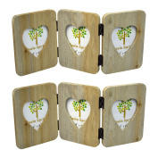 Nicola Spring Triple Heart Wooden Freestanding Photo Picture Frame - 10cm x 15cm - Pack Of 2
