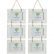 Nicola Spring Triple White Wooden 3 Photo Hanging Picture Frame - 15cm x 10cm - Pack Of 2