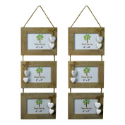 Nicola Spring Triple Wooden 3 Photo Hanging Picture Frame With White Hearts - 15cm x 10cm - Pack Of 2