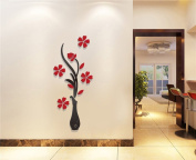 Yingwei Ceramic Like Red Vase Flower Tree Crystal 3D Wall Stickers