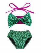 Baby Girls Mermaid Halter Bowknot Bikini Set Swimsuit Bathing Suit