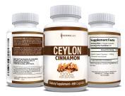 Organic Ceylon Cinnamon Capsules for Blood Sugar Support & Weight Loss | Healthier, True Cinnamon Capsules from Sri Lanka | 60 Cinnamon Pills | 1,200mg Cinnamon Bark Extract | Natural Supplement