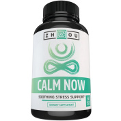 Calm Now Anxiety & Stress Support - Keeps Busy Minds Relaxed, Focused and Positive - Natural Herbal Complex - Veggie Capsules