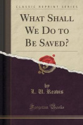 What Shall We Do to Be Saved?