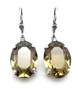 Catherine Popesco XL Oval Smokey. Crystal Silver Plated Earrings 1 1/2