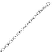 Sterling Silver Polished Charm Bracelet with Rhodium Plating
