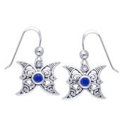 Jewellery Trends Sterling Silver Moon Butterfly Dangle Earrings with Dark Blue Glass
