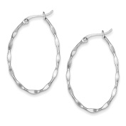 Sterling Silver Twisted Polished Fancy Oval Hoop Earrings Length 38mm