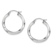 Sterling Silver Rhodium-plated 3mm Polished & Satin Twisted Hoop Earring Length 27mm