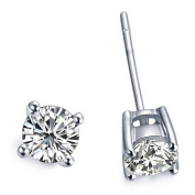 1/4 Carat Total Weight Solitaire Diamond Earrings I1-I2 14K White Gold