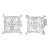 Sterling Silver Miracle Plated Princess-cut Diamond Stud Earrings