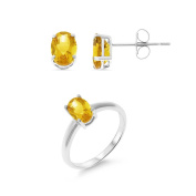 2.21CTW 5 x 7 mm. Oval Shaped .925 Sterling Silver Genuine Natural Citrine Solitaire Earrings + Ring Set