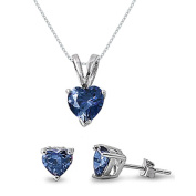 Kriskate & Co. Sterling Silver Simulated Blue Sapphire Heart Necklace and Earrings Set