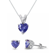 Kriskate & Co. Sterling Silver Simulated Tanzanite Heart Necklace and Earrings Set