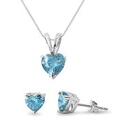 Kriskate & Co. Sterling Silver Simulated Aquamarine Heart Necklace and Earrings Set