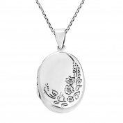 Engraved Tropical Flora Oval Locket Sterling Silver .925 Necklace
