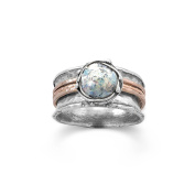 Ancient Roman Glass Ring Round with 14k Rose Gold Bands Sterling Silver