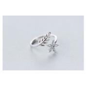 Hi-summer Leaf And Flower Sterling Silver Open Ring