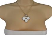TFJ Women Fashion Necklace Gold Metal Chains Leaf Clubs Symbol Pendant White Colour Flower Charm
