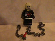 Lego Halloween Ghost Rider with Glow in the Dark Skeleton Head and Two Chains custom minifigure
